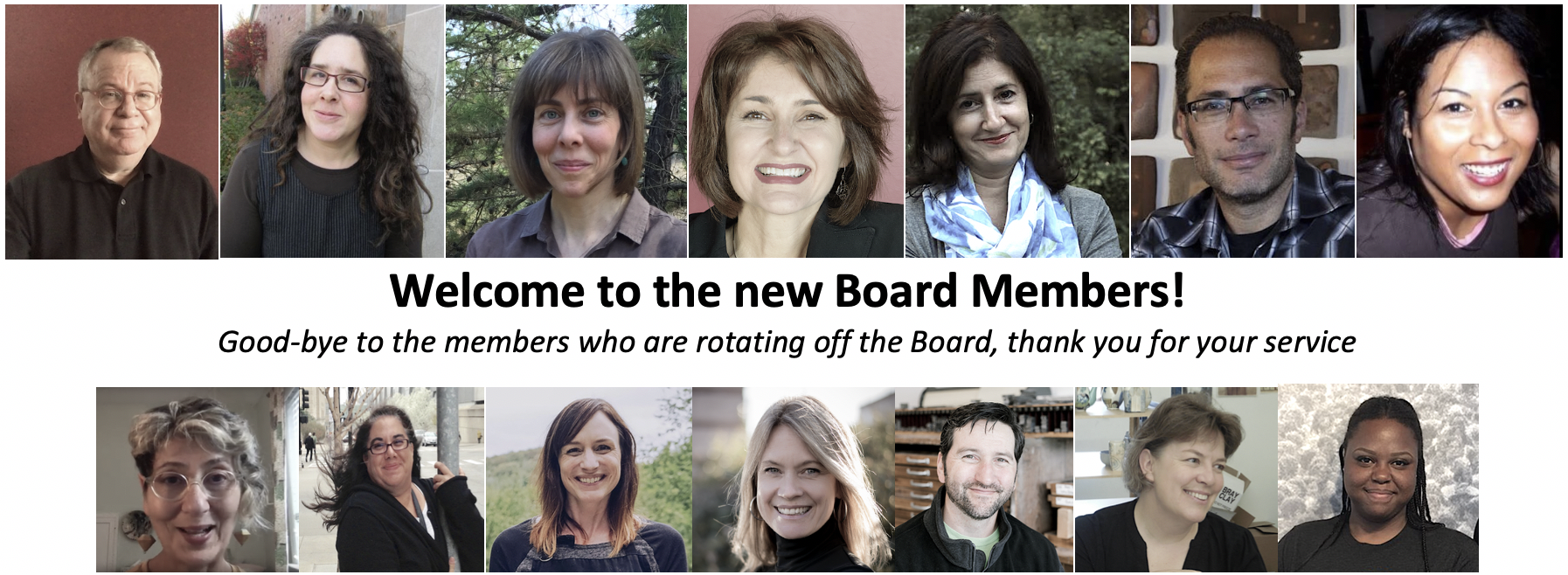 Welcome New Board Members, thank you to those who are departing
